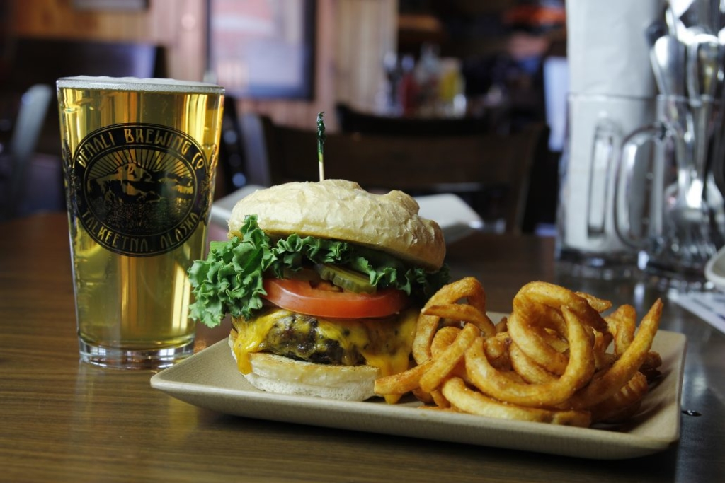 Denali BrewPub Hamburger and beer